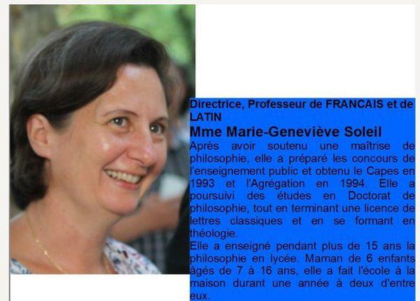 Marie-Geneviève Soleil, est la directrice du Cours le Sénevé. Agrégée de Philosophie, elle participe à des conférences de l'établissement culturel catholique et traditionaliste, le Cercle Charlier.