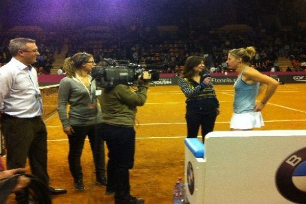 L'Allemande Sabine Lisicki à l'issue du 1er match de la Fed Cup 2013