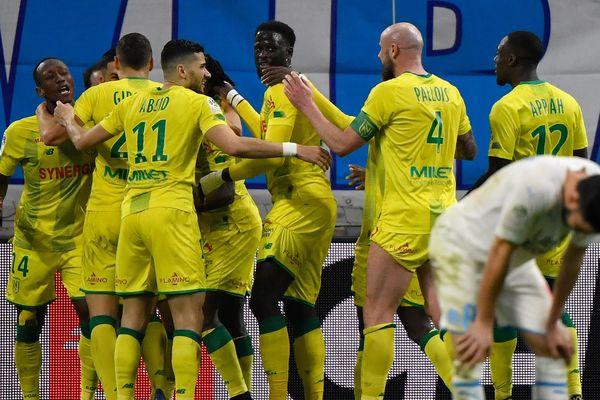 Le FC Nantes s'impose à Marseille (1-3) lors de la 26e journée de Ligue 1, le 22 février 2020