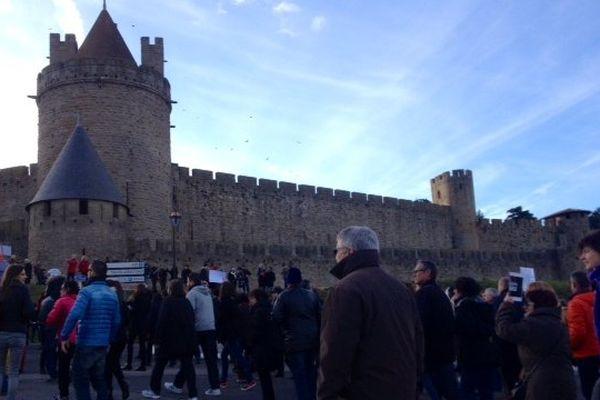 Carcassonne - le cortège et le Cité - 11 janvier 2015.