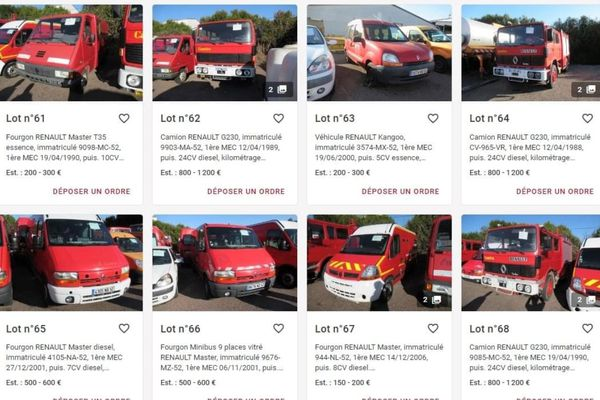 Des véhicules des pompiers mais aussi du Conseil départemental seront en vente à partir du 30 avril 2021 aux enchères à Chaumont