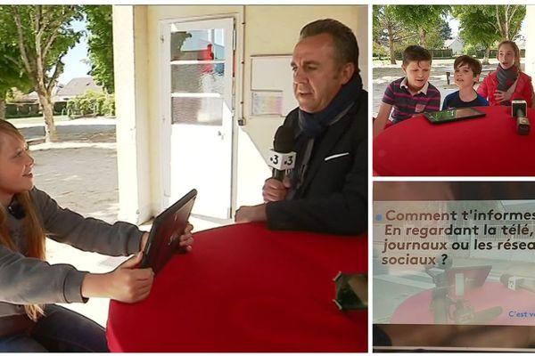 """Des élèves de CM2 de l'école de Chaumont-sur-Tharonne répondent aux questions de """"C'est vous qui le dites""""."""