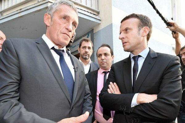 Philippe Saurel et Emmanuel Macron le 18 octobre 2016 à Montpellier