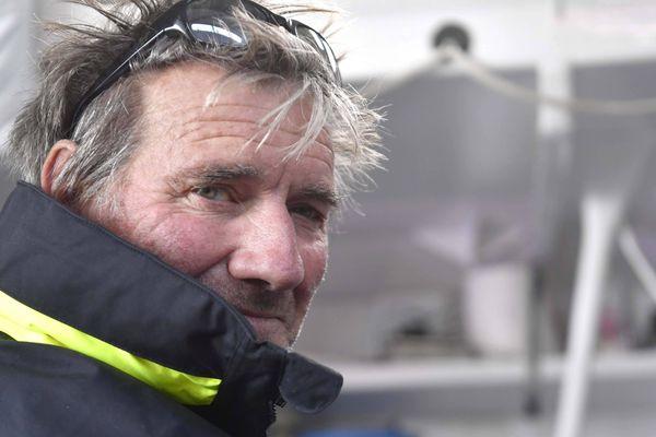 Kito de Pavant avant son départ de Saint-Malo pour la 11ème édition de la Route du Rhum. Le skippeur du Grau du Roi est actuellement quatrième de sa catégorie, la class40.