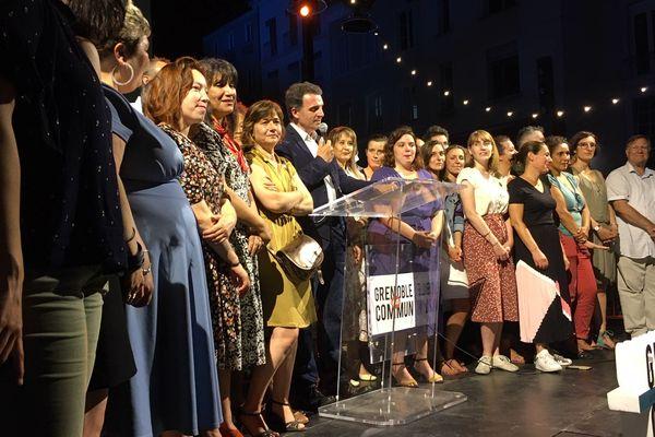Le maire écologiste de Grenoble lors de son discours de victoire au second tour des municipales, dimanche 28 juin.
