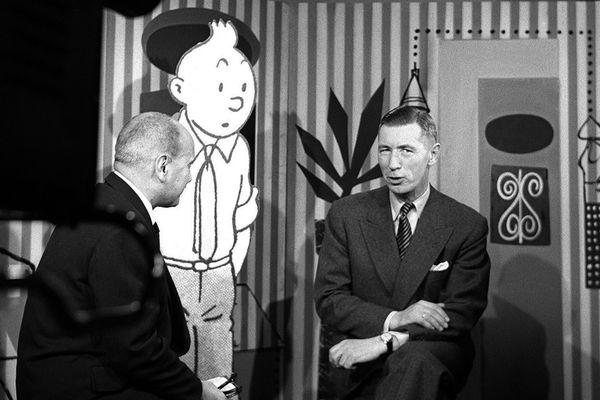 Hergé avec Jean Nohain à la télévision dans une émission jeunesse (28 janvier 1957)