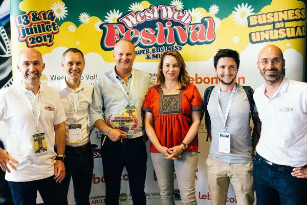 Les finalistes de la Startup Battle, les organisateurs du West Web Festival et Axelle Lemaire, ex-secrétaire d'Etat au numérique