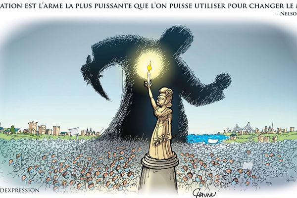 Ce dessin du caricaturiste Chaunu sera affiché en grand format sur les murs des bâtiments de la Région à Caen et Rouen