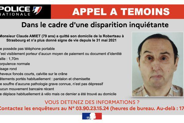 Un habitant de la Robertsau âgé de 79 ans est porté disparu depuis le 31 mai 2021.