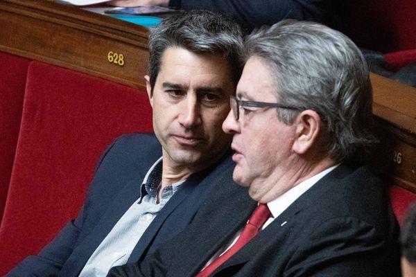 François Ruffin et Jean-Luc Mélenchon lors d'une séance de questions au gouvernement à l'Assemblée nationale, le 12 novembre 2019.