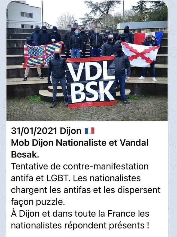 Capture d'un message diffusé sur la boucle Telegram @ouestcasual, qui relaie des messages nationalistes.