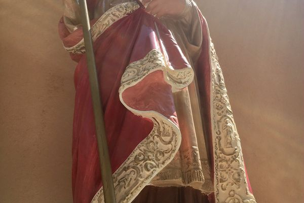 Saint Érasme, le saint patron des pêcheurs, dans l'église Saint Érasme à Ajaccio.