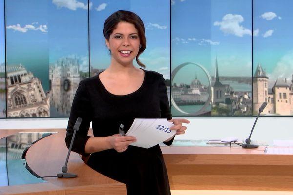 Rebecca Benbourek sur le plateau du journal régional, avec un habillage spécifique qui met en avant le Centre-Val de Loire, la Bretagne et les Pays de la Loire