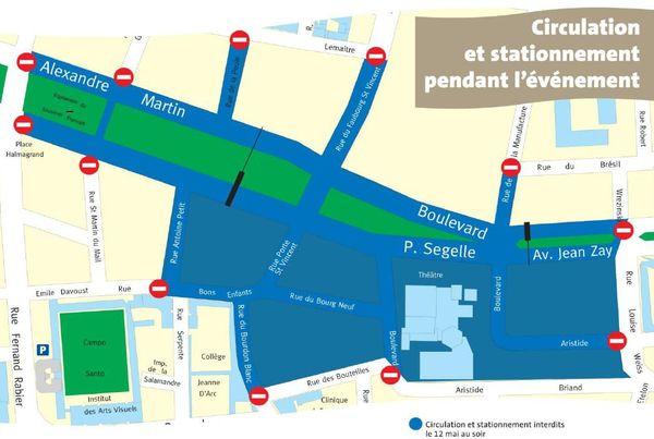 Plan de circulation du centre ville d'Orléans pendant le set électro