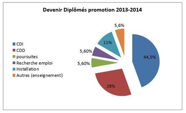Graphique sur l'insertion professionnelle des diplômés des promotions 2013-2014