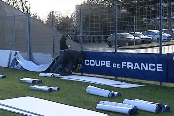 Le stade de la Pépinière à Poitiers aux couleurs de la Coupe de France