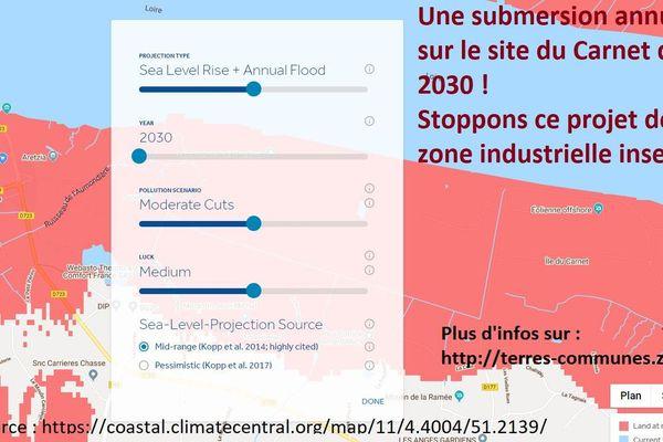 Le collectif Terres communes alerte sur les risques de submersion ayant été mis en évidence par les scientifiques, avec une carte issue du site Climate Central.