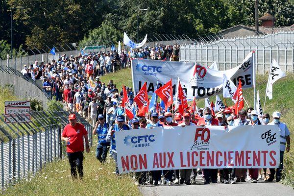 Mercredi 8 juillet, les salariés d'Airbus ont manifesté contre les licenciements.