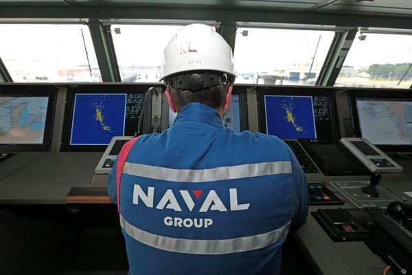 Naval Group dans la FREMM Normandie le 25 juin 2019 à Lorient.