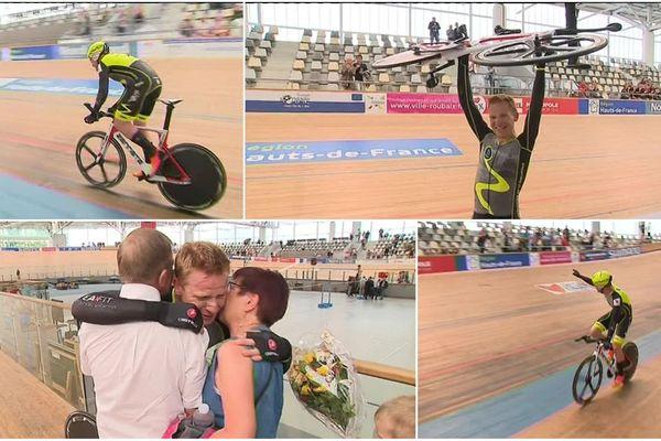 Mathieu Defontaine, cycliste amateur bruaysien, nouveau recordman de l'heure sur piste depuis ce mardi au stade vélodrome de Roubaix
