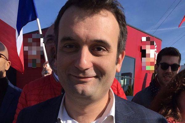 Florian Philippot lors d'une marche du mouvement Les Patriotes à Forbach (Moselle), le 7 avril 2018.