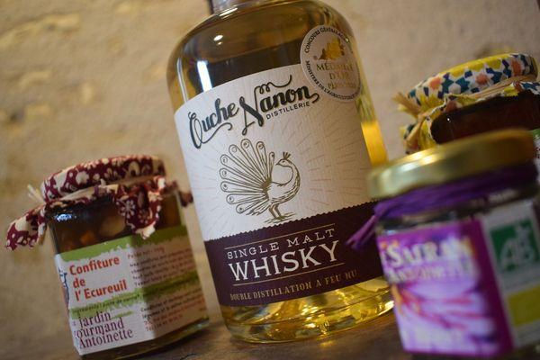 Le whisky médaillé de Thomas Mousseau et les confitures et le safran de Virginie Roger.