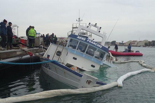 Le Nene-Francine a coulé sur la criée du Grau d'Agde alors qu'il se trouvait à quai - 24 janvier 2020