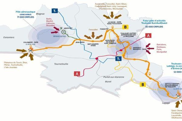 Plan de la future troisième ligne du métro toulousain