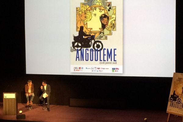 L'affiche du 45ème Festival de la BD dessinée par Cosey a été présentée à Paris.