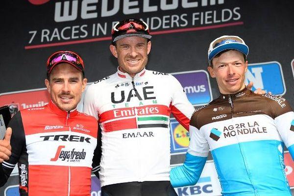 Alexander Kristoff, vainqueur de Gand-Wevelgem devant John Degenkolb et Oliver Naesen.