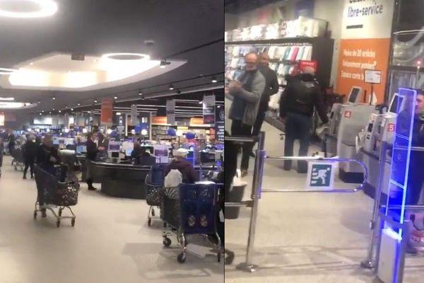 Les clients de l'hypermarché E.Leclerc de Wattrelos applaudissent le personnel.
