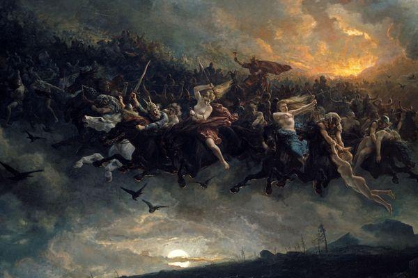 La chasse sauvage d'Odin - Traversant le ciel pendant les nuits d'orage ou de grands vents, les Chasses Sauvages sont composées de revenants et d'âmes damnées