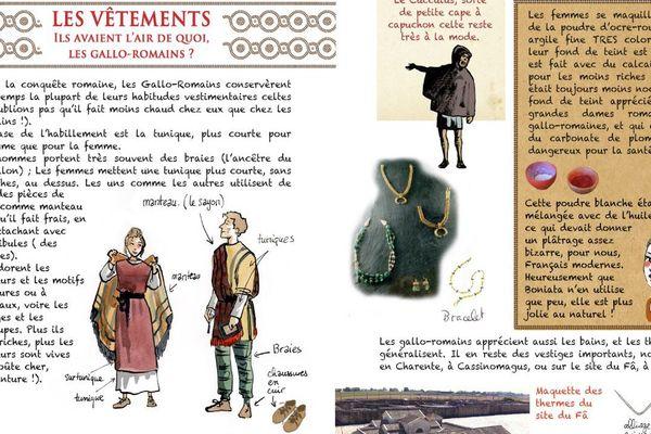 Dans la seconde partie de la bande dessinée, des planches explicatives sur le quotidien à l'époque gallo-romaine.