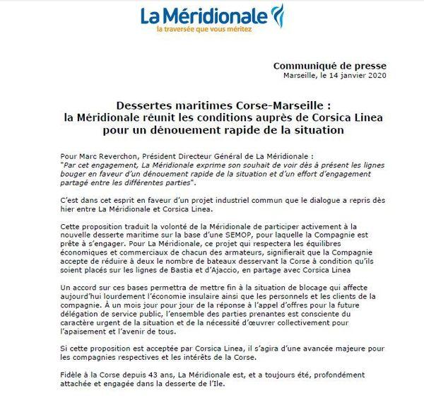Le communiqué de presse de La Mérdionale, le 14 janvier.