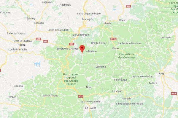 L'accident s'est déroulé sur la route départementale 907 bis, entre Les Vignes et La Malène (Lozère).