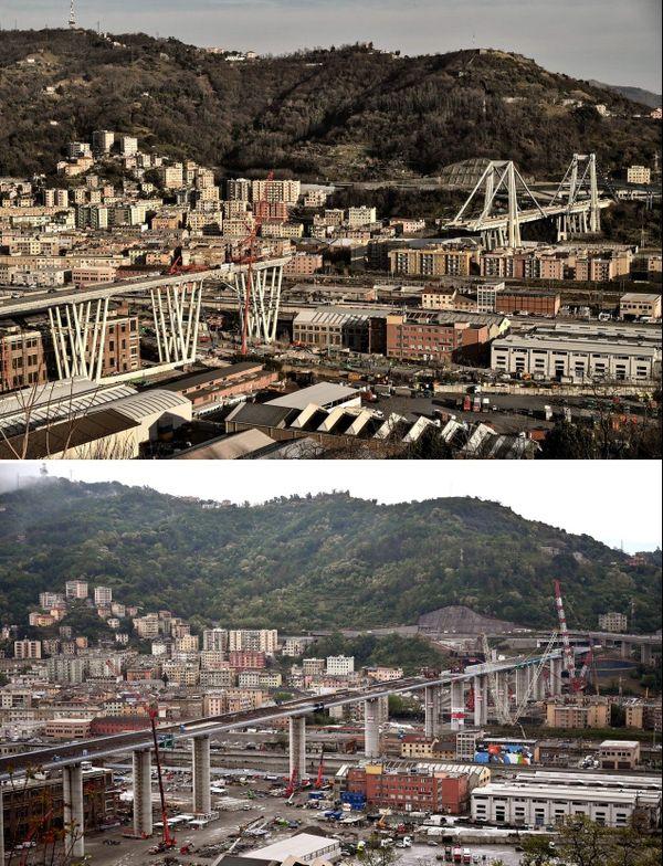 Le pont de Gênes lors de sa chute en 2018 et ce mardi 28 avril 2020.