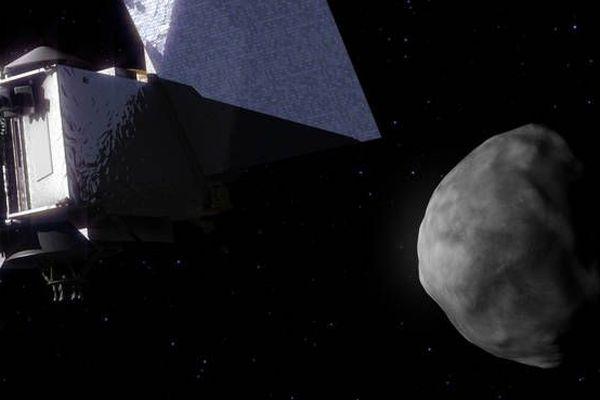 Une re-création artistique de la rencontre entre l'astronef OSIRIS-REx et l'astéroïde Bennu.