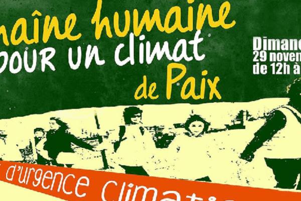 Une chaîne humaine à Lyon pour le climat ... dimanche 29 novembre. (capture écran Alternatiba Rhône)