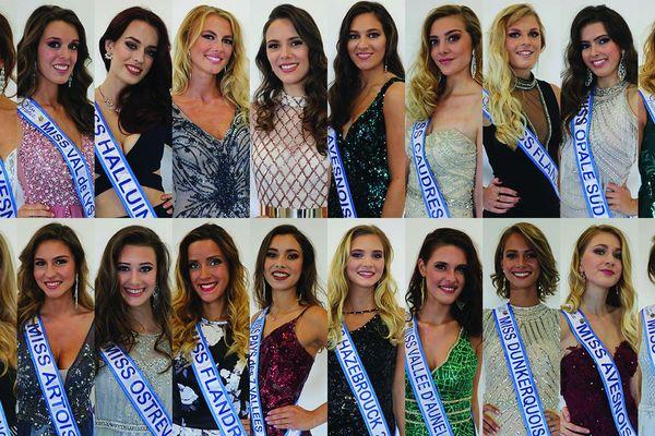 Les 20 Miss candidates à Miss Nord Pas-de-Calais 2019, à Orchies (Nord)