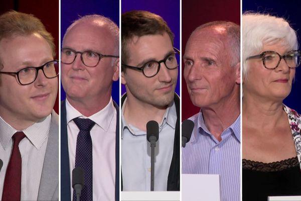 François Avisseau, Marc Fleuret, Antoine Léaument, Dominique Viard et Mylène Wunsch sur le plateau de France 3 Centre-Val de Loire le 16 juin 2021.
