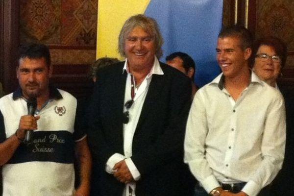 Le co-pilote Daniel Elena, le champion de pétanque Marc Foyot et le vainqueur du mondial 2013 Dylan Rocher, ce jeudi lors de la conférence de presse de la Marseillaise.