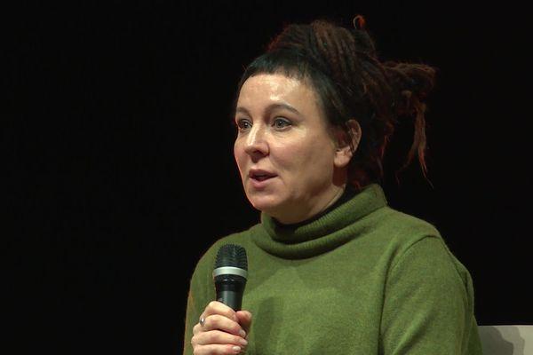 Olga Tokarchouk, lors des rencontres littéraires Meeting de Saint Nazaire, le 24 novembre 2019