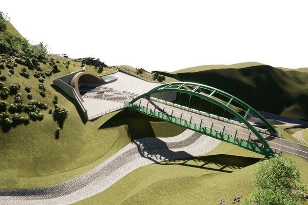 Pour enjamber l'éboulement causé par la tempête Alex et relier la RD6204 au tunnel de Tende, la France et l'Italie ont validé la construction d'un viaduc de 65 mètres de long.