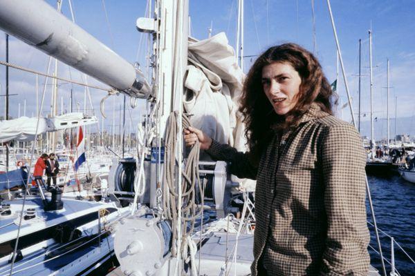 Florence Arthaud avant le début de sa toute première Route du Rhum en en 1978, à Saint-Malo.