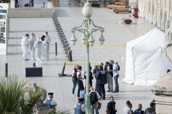Le parvis de la gare Saint-Charles à Marseille après l'attaque d'Ahmed Hanachi.