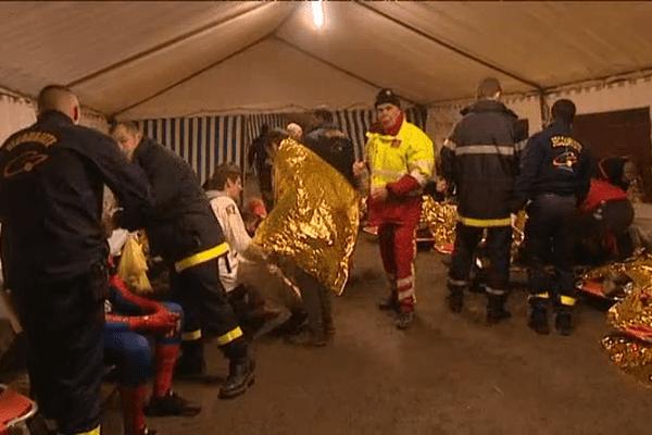 L'un des quatre points de rassemblement des victimes mis en place ce mardi pour le carnaval étudiant de Caen