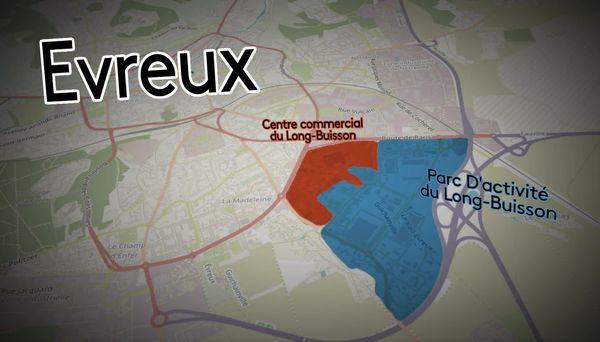 En rouge et bleu, les deux zones d'activités déjà existantes, la nouvelle (Long Buisson III) sera aménagée à l'ouest de cette zone, sur les terres agricoles.