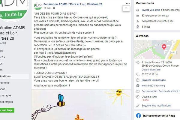 Capture de la page facebook de l'ADMR d'Eure-et-Loir