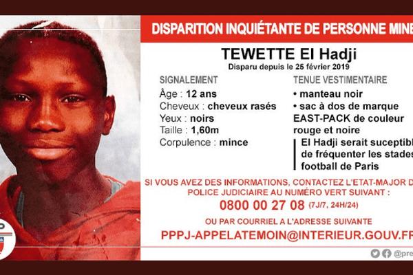 Tewette el Hadji, 12 ans, a disparu depuis le 25 février 2019.