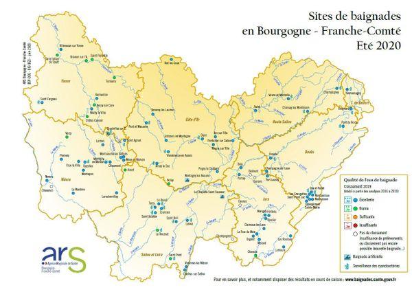 Les sites de baignade en Bourgogne-Franche-Comté - Eté 2020